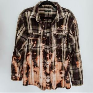Unisex Upcycled Bleached Flannel Button Down Shirt